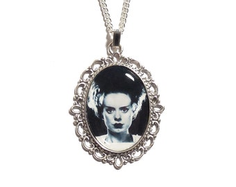 Gothic necklace The Bride of Frankenstein necklace pendant silver UNIVERSAL STUDIOS 1935 gothic goth