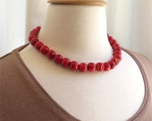 Red coral necklace simple treasure. HALF PRICE SALE. Take 50% off.