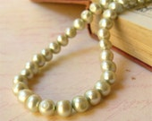 SALE half price. Pale green pearl necklace - ocean treasures