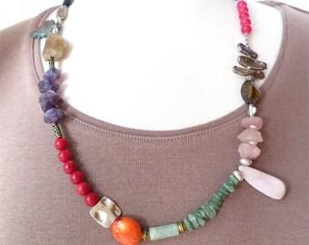 Necklace mid length mixed stones - ancient treasures. SALE HALF PRICE