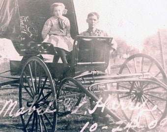 vintage photo 1909 Little Girl Dad by Horse Buggy Mabel & Harry writing