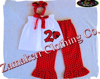 Girl Lady Bug Birthday Outfit - Girl Halter Pant Set  Girl Ruffle Pant Outfit Set Size 3 6 9 12 18 24 month size 2T 2 3T 3 4T 4 5T 5 6 7 8