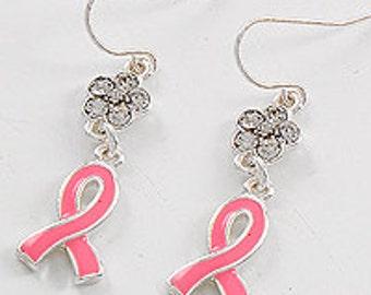 Pink ribbon dangle earrings