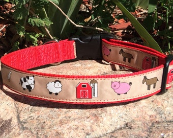 """1"""" wide Country Dog adjustable dog collar - A day at the Farm"""