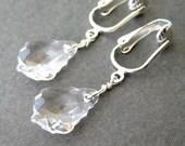 Clear Baroque Crystal Clip-on Earrings, Silver Ear Clips, Faceted Fancy Clear Crystal Teardrop, Drop Clip On Earrings, Handmade, Suncatcher