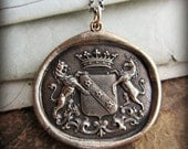 Unicorn and Lion Bronze Wax Seal Medallion Necklace - Courage - Strength - Virtue