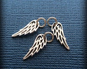 Angel Wing Charm Pendant in sterling silver