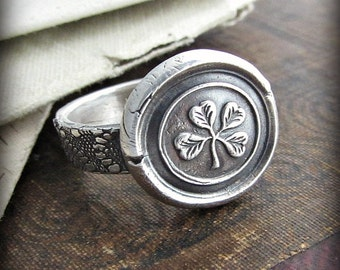 Wax Seal Ring Four Leaf Clover - Antique Irish Lace Band - Irish Shamrock Jewelry in recycled silver