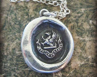 Courage in Difficulties Wax Seal Crest Necklace - Be Brave in Difficult Times - Griffin Wax Seal Jewelry - RP825