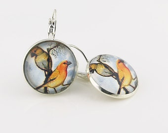 Bird Earrings, Picture Jewelry, Two Birds On A Branch