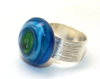 Pearly Blues Vortex - Lampwork Jewelry - Lampwork Ring - Glass Bead Jewelry - Glass Bead Ring - Modern Jewelry - Spiral Jewelry