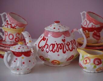 Fancy Pink, Yellow, orange Tea Set Personalized Little Girl's Child's Tea Set & 4 Tea Cups ...Ooh la la...hats, boas, shoes, tiaras and more