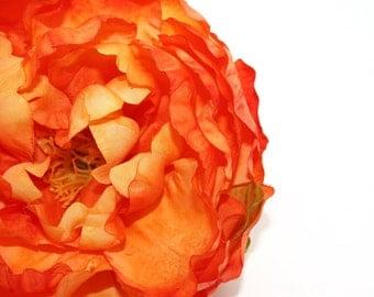 Gorgeous Silk Peony in Orange - 5 Inches - silk flowers, artificial flowers, silk flower, artificial flower - ITEM 0559