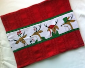 Rudolf Kitchen Towels, Funny Reindeer Kitchen Towels, Cotton Christmas Towels, Holiday Kitchen Decor