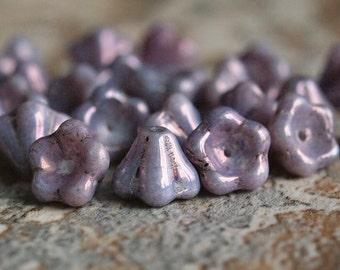 Amethyst Luster Czech Glass Bead 8x6mm  Bell Flower : 25 pc Full Strand Purple Flower