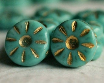 Turquoise Gold Picasso Czech Glass Bead 12mm Daisy Flower :  10 pc