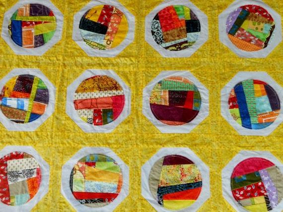 Nursery Wall Art Patchwork Quilt Table Cover Modern Folk Art Decor Photo Prop Eye Candy Original OOAK