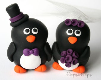 Custom Wedding Penguin Cake Topper