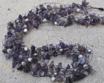 Amethyst Necklace, Purple, Freshwater Pearls, February Birthstone, Unique Purple Gemstone Wire Necklace, JUMBLE Style - LONG Necklaces