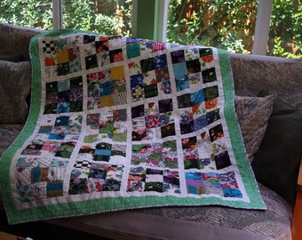 Large Vintage Scrap Lap Quilt, Throw Blanket, Green, Orange, Blue, Red, Pink, Black, Yellow
