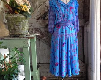 1980s dress 80s designer dress size medium Vintage 80s dress Diane Freis dress aqua dress