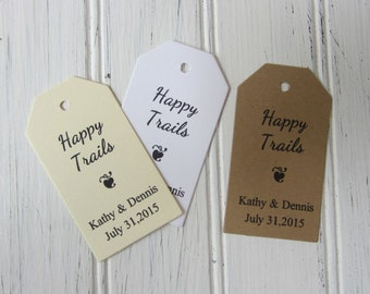 25 Thank You Tags, Happy Trails Personalized Favor Tags, Wedding Gift Tags, Retirement Favor Tag, Rustic Wedding Tags - Wedding Gift Tag