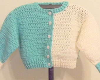 Girl's Blue and White Sweater - Size 4 - Ready to Ship