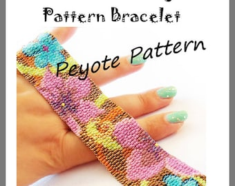 Flowers Flowers Peyote Pattern Bracelet - For Personal Use Only PDF Tutorial