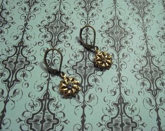 Antique Brass Lever backRhinestone Flower Drop Earrings