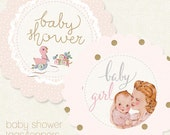 Baby Shower (girl) - Digital PDF Tags/Toppers for Download and Print