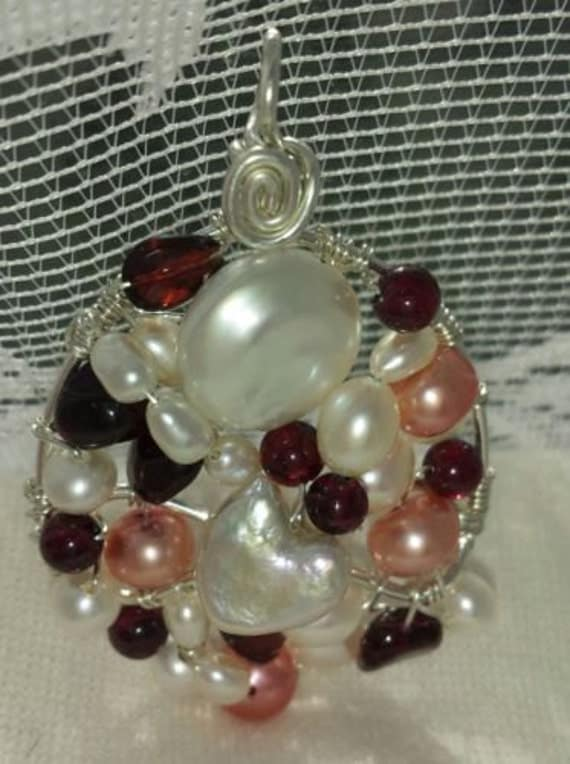 Wire wrapped Sterling silver one-of-a-kind Garnet & Apricot Pearl Pendant