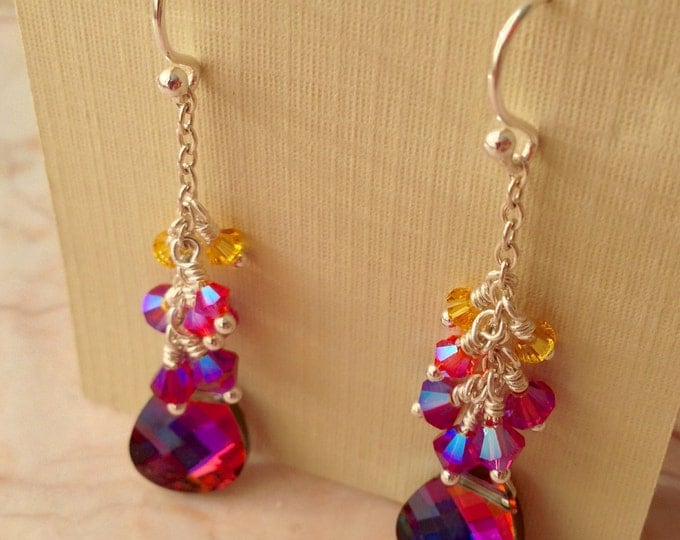 Rainbow Swarovski Crystal Earrings