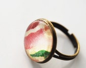 Antique Brass Garden Glass Dome Adjustable Ring, FREE US SHIPPING