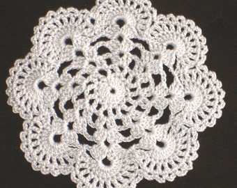 """New Handmade Crocheted """"Eight Shells"""" Coaster/Doily in Silver"""