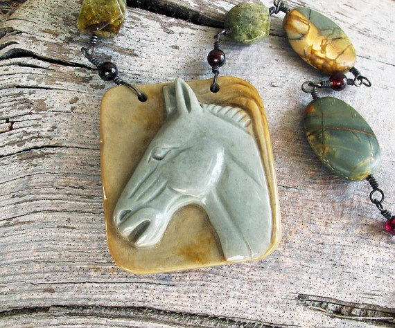 Horse Necklace, Equestrian Necklace, Horse Lover Necklace, year of the horse, Succor Creek Jasper Necklace Gray Horse Pendant Necklace