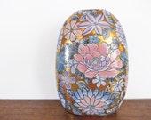 Golden Girl Vase : Vintage Floral Chintz on Gold Metallic Vase, Chinoiserie Style, Round Flat Vase, Narrow Windowsill Vase, Pastel Flowers.