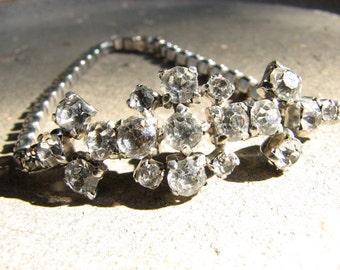 Vintage Bracelet Rhinestone Mid-Century 1950s Sparkle Shine