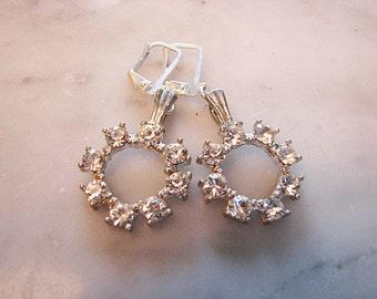 Vintage Rhinestone Sparkle Circles Leverback Dangle Earrings