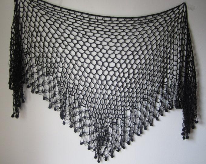 Crochet shawl, Black, festival wear, beachwear sarong, gypsy, boho chic