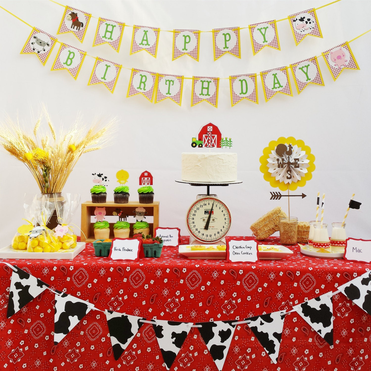 Farm birthday party decorations package farm animals garland for Animal party decoration