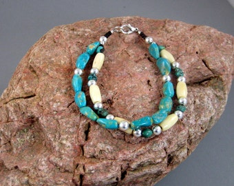Native American beaded bracelet - Mens bracelet - Turquoise Bone and Silver bracelet -  two strand Southwestern Style Bracelet, Tribal