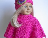 18 Inch Doll Clothes Crocheted Poncho Set in Bright Pink with Flowered Hat handmade to fit the American Girl Doll