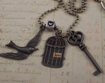 Silver Bird and Cage and Key Charm Necklace - Love Bird Necklace - Bird Cage Necklace - Anniversary Gift