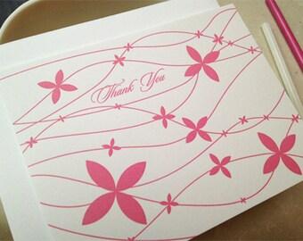 Letterpress Pink Petals Thank You Notecards