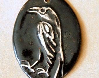 Handmade Ceramic Raven Bead - Oval Raven Bead with Black glazed Stoneware