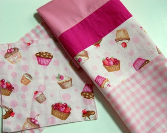 SALE FREE SHIPPING Sweet Shoppe kitchen tea towel / kitchen gift / cupcake pink kitchen towel / pink gingham towel / gift for the baker