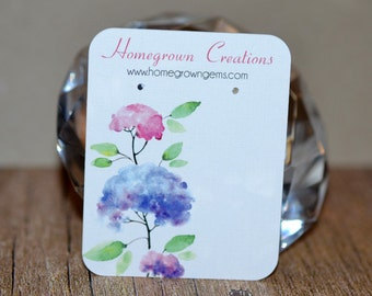 Watercolor Flowers Custom Earring Display Cards Personalized Jewelry Display Cards | DS0022