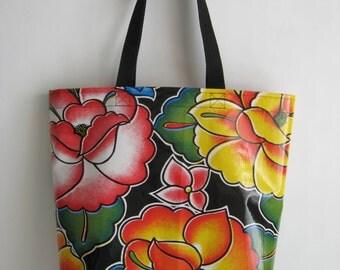 Durable Oilcloth Market Bag - Black Tehuna