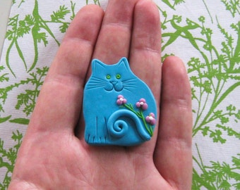 Fimo Polymer Clay Blue Cat with flowers Brooch Pin or Magnet