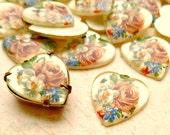 Six Vintage 15x14mm Heart Acrylic Floral Decal Cabs (62-9F-6)